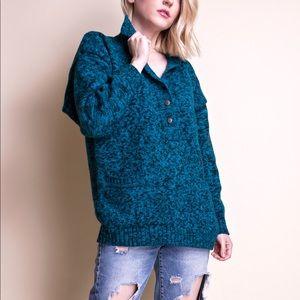 Vintage 80s green knit boxy pocket sweater
